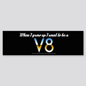 funny retro sticker V8 Bumper Sticker
